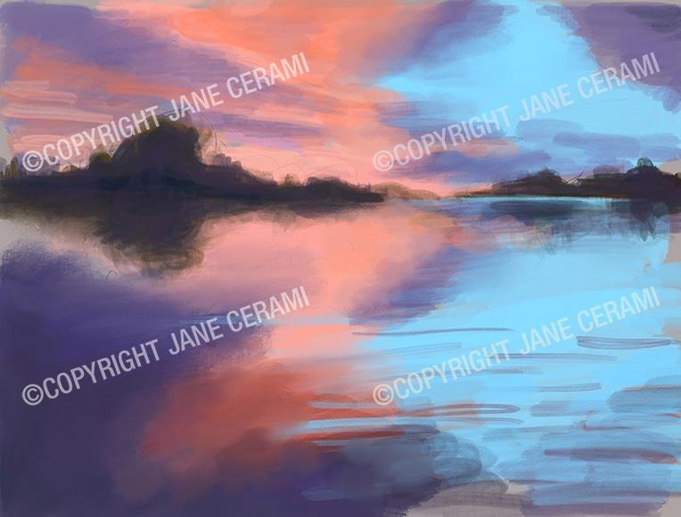 Pink Sunset Landscape